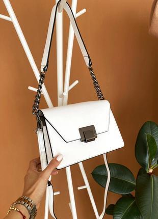 Белая стильная кожаная итальянская сумка трапеция, borse in pelle италия