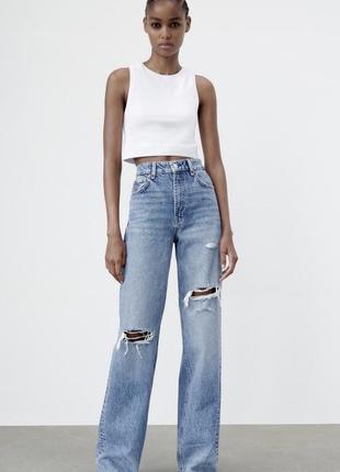 Джинсы zara wide-leg jeans