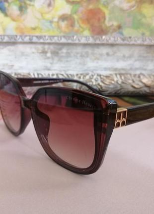 Эксклюзивные коричневые брендовые солнцезащитные женские очки лисички 2021