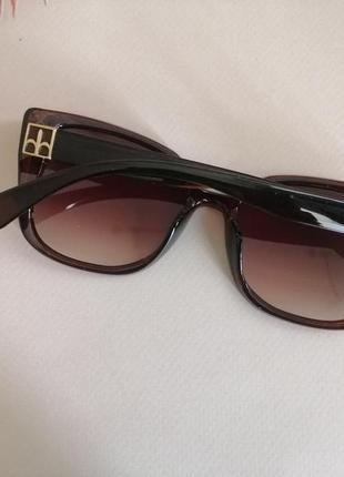 Эксклюзивные коричневые брендовые солнцезащитные женские очки лисички 20213 фото
