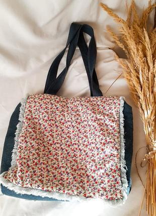 💔1+1=3💔 необычная сумка-шопер в стиле пэчворк