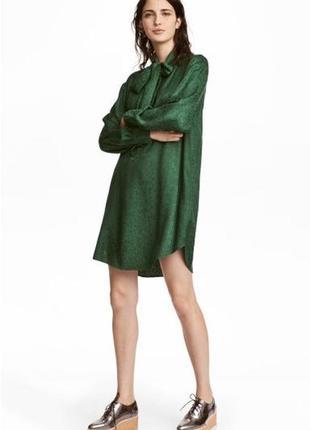 Зеленое платье h&m