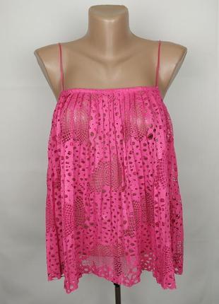 Блуза топ плисе новая стильная оригинальная розовая asos uk 8/36/xs