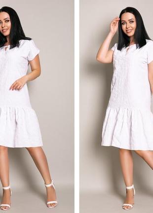 Женское платье миди прошва с коротким рукавом