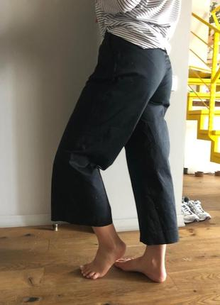 Идеальные черные брюки кюлоты / из хлопка размер 38 /  италия