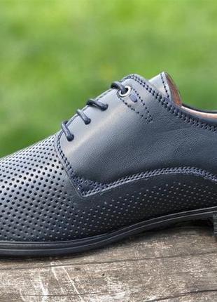 Мужские туфли летние кожаные черные - чоловічі туфлі літні шкіряні чорні7 фото