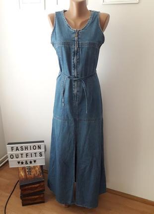 Джинсовый сарафан,платье с разрезом