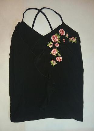 Черная майка блуза с вышивкой вискоза