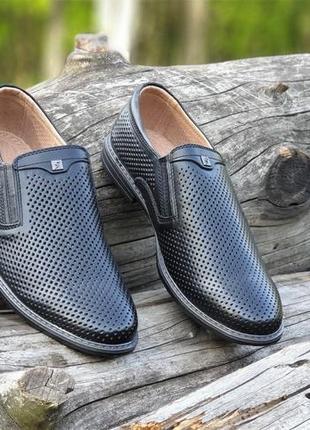 Мужские туфли летние кожаные черные - чоловічі туфлі літні шкіряні чорні6 фото