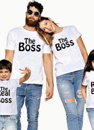 Фп004074  футболки фэмили лук family для всей семьи. boss and real boss push it