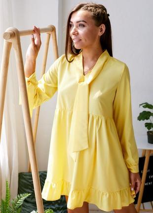 Свободное легкое платье цвета лимонный торт