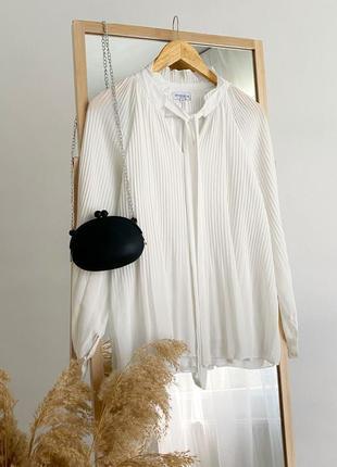 Воздушная белая блузка плиссе modessima италия