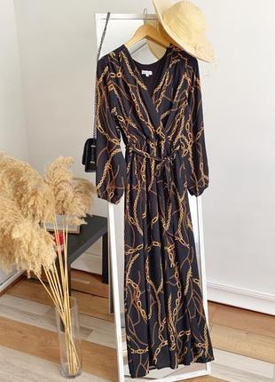 Шикарное платье в пол на запах с поясом в приет цепи италия