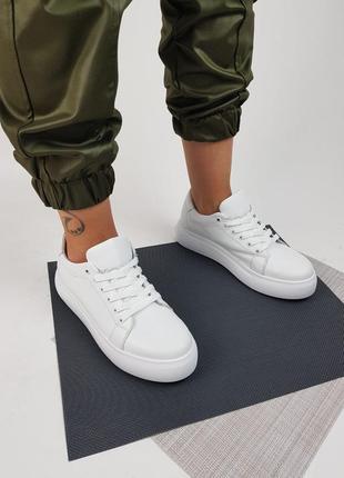 Кроссовки белые натуральная кожа женские кеды кросівки жіночі