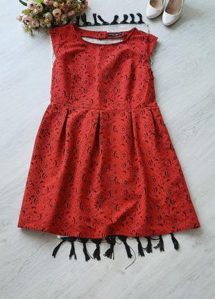 Яркое красное платье из фактурной ткани батала большой размер 5xl червона сукня