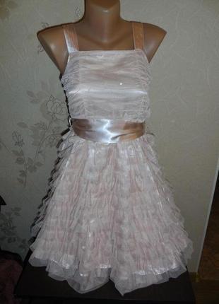 Шикарное пышное платье * next*  низ воланами+атлас+ 2 слоя фатина, 10 лет
