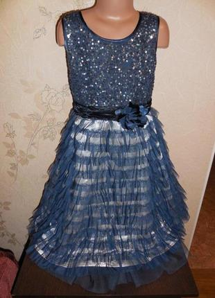 Нарядное пышное платье * next* верх в паеточках, низ фатин  воланами, 10 лет.