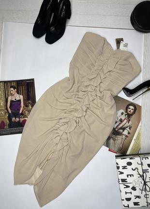 Новое летнее бежевое коктейльное платье с рюшами без бретель по фигуре h&m s m