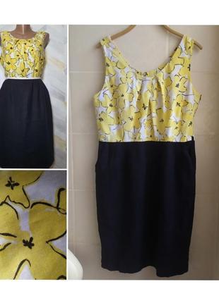 Летнее платье лён + вискоза с цветочным принтом принтом
