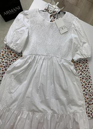 Новое белое платье миди zara очень красивое ❤️