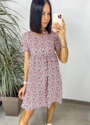 Женское  короткое платье из натуральной ткани хлопковый штапель с цветочным принтом