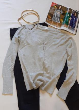 Серебристый базовый свитерок