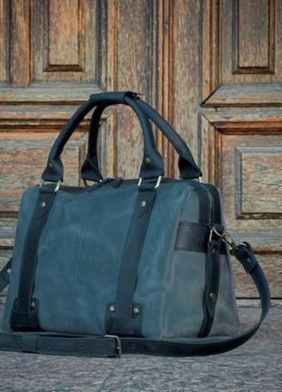 Кожаный мужской саквояж, деловая мужская сумка из кожи