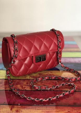Маленька шкіряна сумка темно-червона