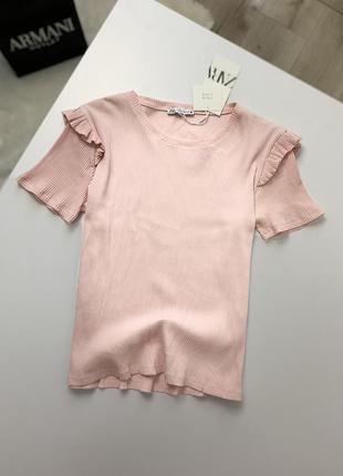 Новая красивая футболка zara в рубчик свежая коллекция