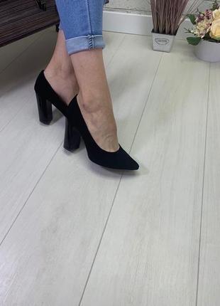 36-40 рр туфли - лодочки на устойчивом каблуке натуральная замша/кожа2 фото
