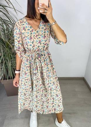 Женское платье миди с разрезом с цветочным принтом