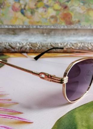 Эксклюзивные брендовые солнцезащитные женские очки в металлической оправе 20212 фото