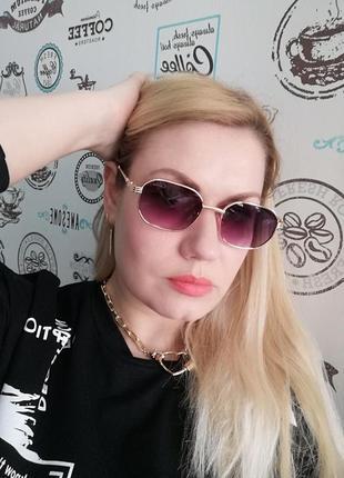 Эксклюзивные брендовые солнцезащитные женские очки в металлической оправе 20216 фото