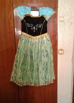 Детский карнавальный костюм ( бальное платье принцесса анна ) 6-7 лет