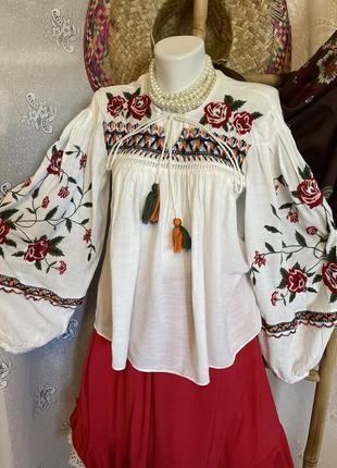 Блуза рубашка этно бохо стиль вышиванка белая