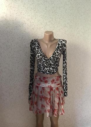 Короткая блуза топ леопард р.xxs-xs. низ обрезан