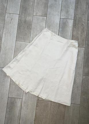 Бежевая шёлковая миди юбка,льняная юбка(1)