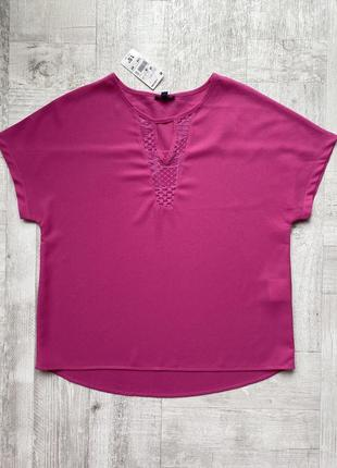 Акция!👁 яркая крепдешиновая блуза фуксия