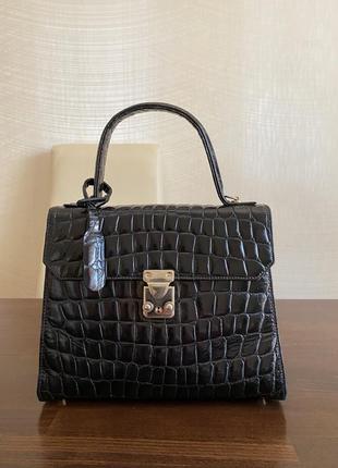 Черная кожаная винтажная сумка в стиле hermes kelly крокодил