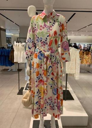 Платье h&m на пуговицах zara платье рубашка h&m в цветочный принт zara