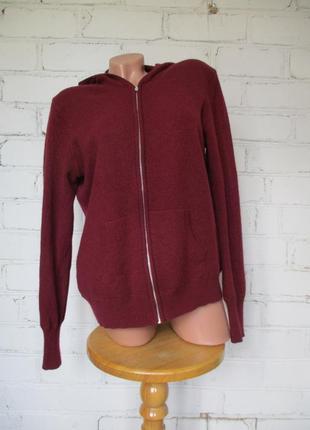Джемпер/свитер/светр кашемировый с капюшоном на замке/m-l