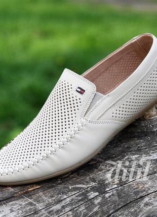 Мужские туфли летние кожаные бежевые - чоловічі туфлі літні шкіряні бежеві