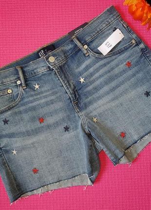 Новые джинсовые шорты с вышивкой gap размер 31