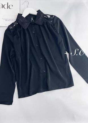 Женская коттоновая блуза с длинным рукавом и крудевом