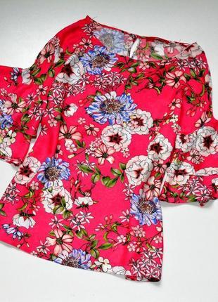 S. oliver. красивая вискозная блуза в цветы с пышным рукавом. м. 10. 38