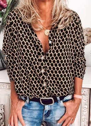 Женская шёлковая рубашка с длинным рукавом