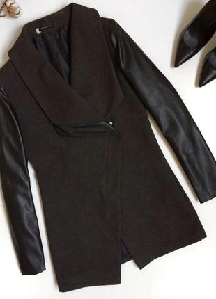 Серое пальто с рукавами под кожу pronto (s)