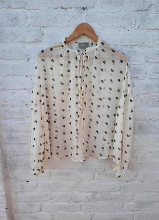 Блузка шифон прозрачная сердечки