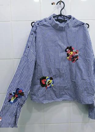 Натуральная хлопковая рубашка с вышивкой zara