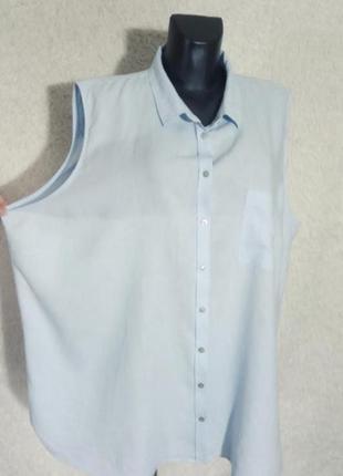 Шикарная рубашка без рукавов лён+ вискоза 24р